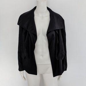 Monrow Black Blazer Open Drape Front Jacket